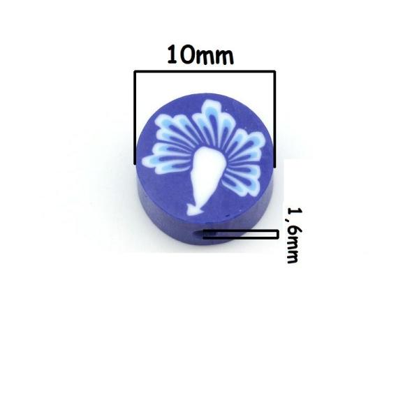 10 Perles en Pâte Polymère 10mm Bleu avec Fleur, Creation bijoux, Bracelet, Collier - Photo n°2