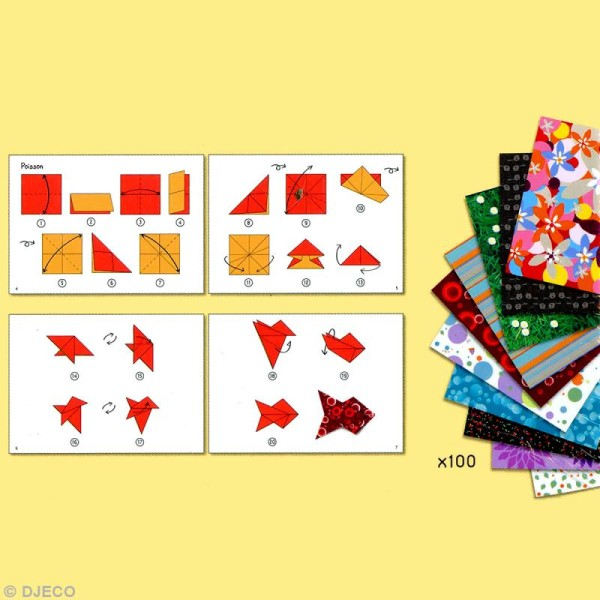 Djeco Petits cadeaux - Origami - 80 papiers imprimés - Photo n°3