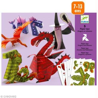 Djeco Petits cadeaux - Paper toys - Dragons et chimères