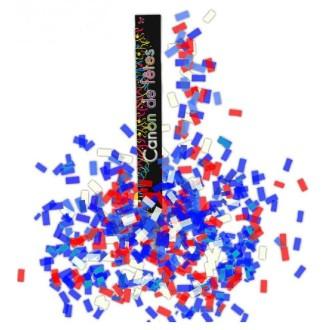 4 Canons à confettis 30 cm bleu/blanc/rouge