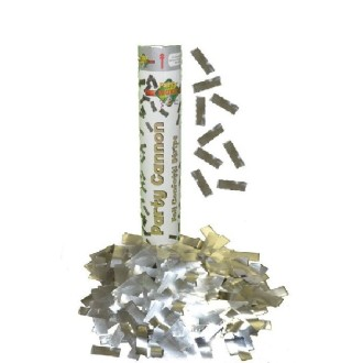 4 Canons confettis alu argent 60 cm