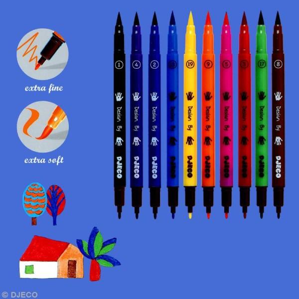 Djeco Les couleurs - 10 feutres pinceaux - Assortiment classique - Photo n°2