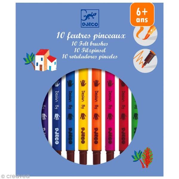 Djeco Les couleurs - 10 feutres pinceaux - Assortiment classique - Photo n°1