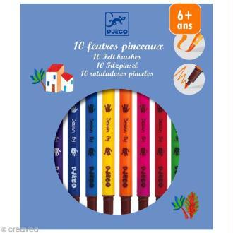 Djeco Les couleurs - 10 feutres pinceaux - Assortiment classique