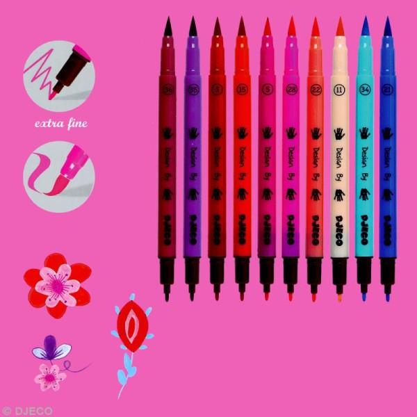 Djeco Les couleurs - 10 feutres pinceaux - Assortiment fille - Photo n°2