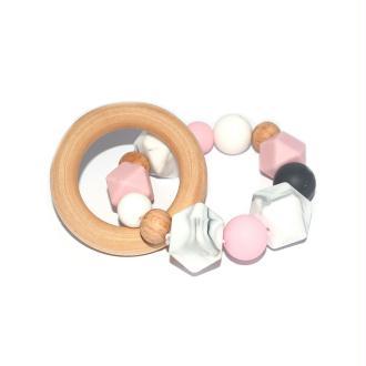 Hochet - Anneau de dentition en bois et silicone gris, blanc, rose et marbre