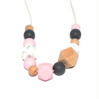 Collier d'allaitement avec perles en bois, silicone gris, marbré et rose