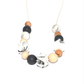 Collier d'allaitement avec perles en bois, silicone gris, beige, et marbré