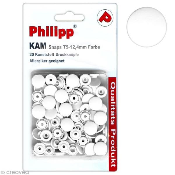 Boutons pression 12,4 mm - Résine plastique - Blanc - 20 pcs - Photo n°1