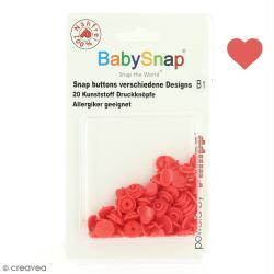 Boutons pression 12,4 mm - Résine plastique - Coeurs Rouge - 20 pcs