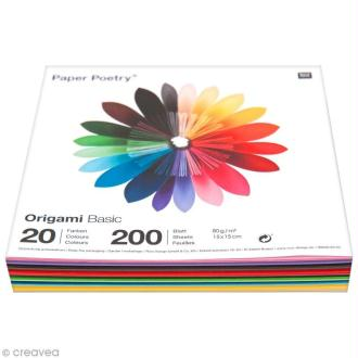 Papier origami 15 x 15 cm - 20 couleurs - 200 feuilles