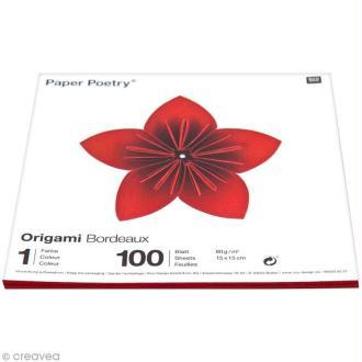 Papier origami 15 x 15 cm - bordeaux - 100 feuilles
