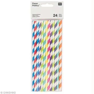 Pailles 19,5 cm - Multicolore - 24 pcs