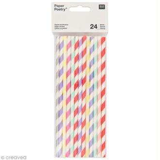 Pailles 19,5 cm - Multicolore sorbet - 24 pcs