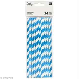 Pailles Bleu - 19,5 cm - 24 pcs