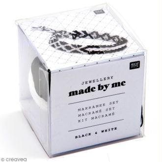 Kit macramé bijou - Black & white (noir et blanc)