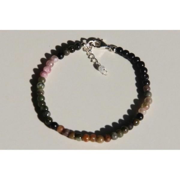 Bracelet en tourmaline, perles rondes de 4 mm et argent. - Photo n°2