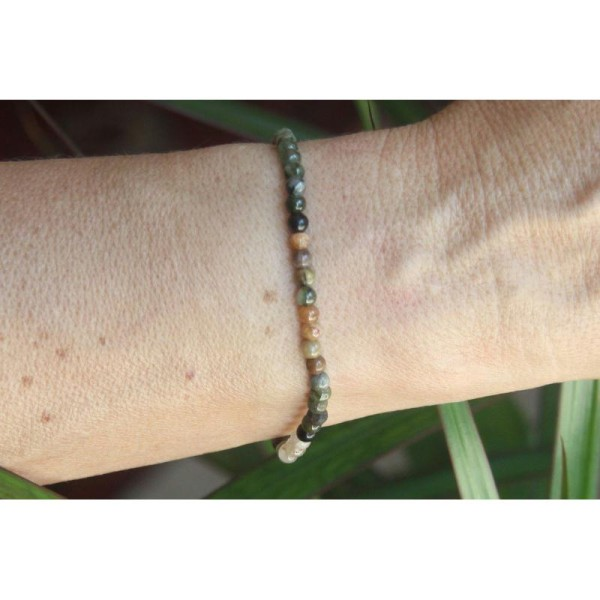 Bracelet en tourmaline, perles rondes de 4 mm et argent. - Photo n°3