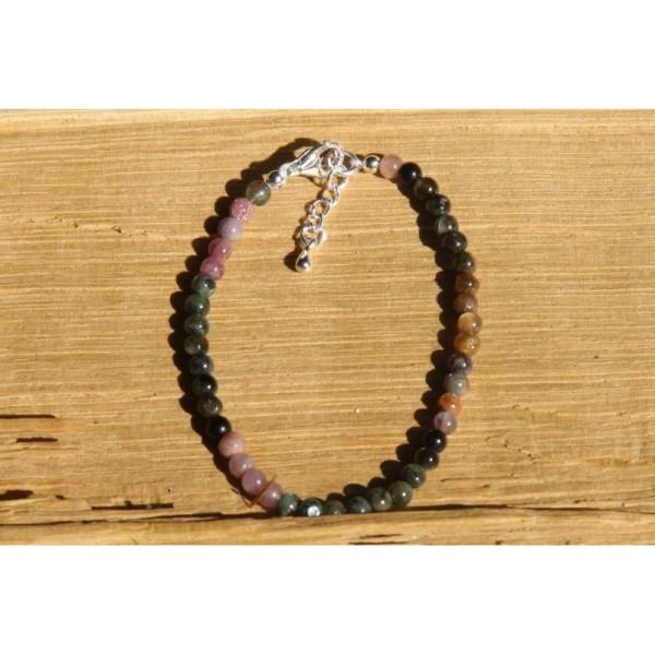 Bracelet en tourmaline, perles rondes de 4 mm et argent. - Photo n°1