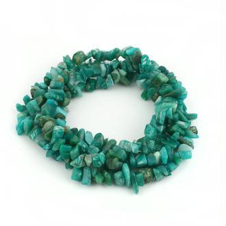 20 Perles en Amazonite irrégulière vert paon -Création Bijoux - SC0107945