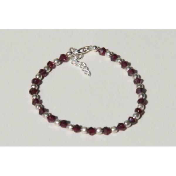 Bracelet en perles rondes de grenat et argent de 4 mm . - Photo n°2