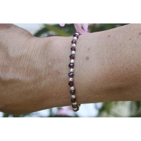 Bracelet en perles rondes de grenat et argent de 4 mm . - Photo n°3