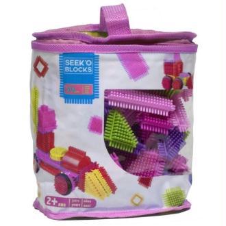 SEEK'O BLOCKS - Ba1001F - Jeu De Construction 1Er Âge - 50 Pièce - Sac De Rangement Rose