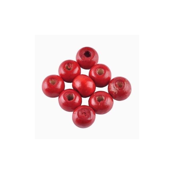 100 Perles ronde en bois rouge 8mm - Photo n°1