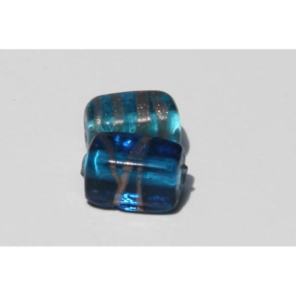 Deux Perles en verre translucide rectangulaire bleu, 18 mm - Photo n°1
