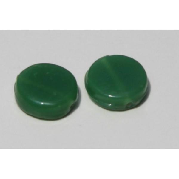 Deux perles rondes, vertes et plates de 19 mm x 7 mm - Photo n°2