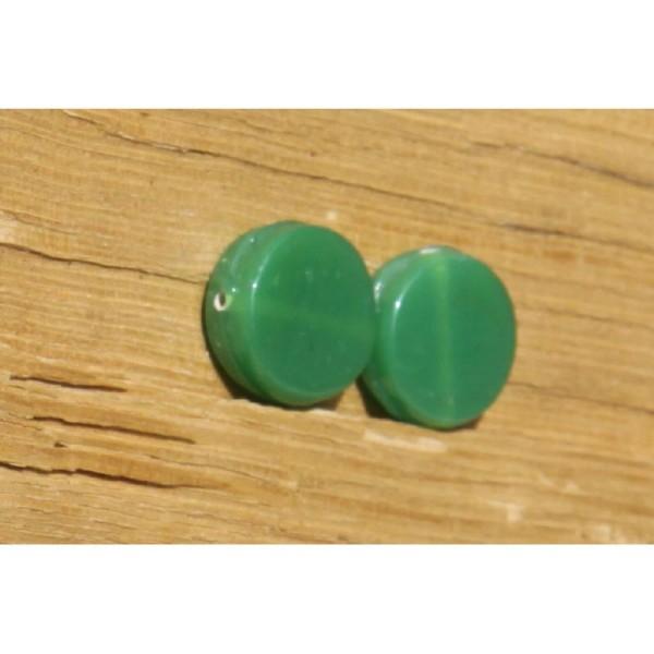 Deux perles rondes, vertes et plates de 19 mm x 7 mm - Photo n°3