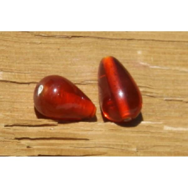 Deux perles en verre translucide de couleur orange de 16 mm x 11 mm - Photo n°1