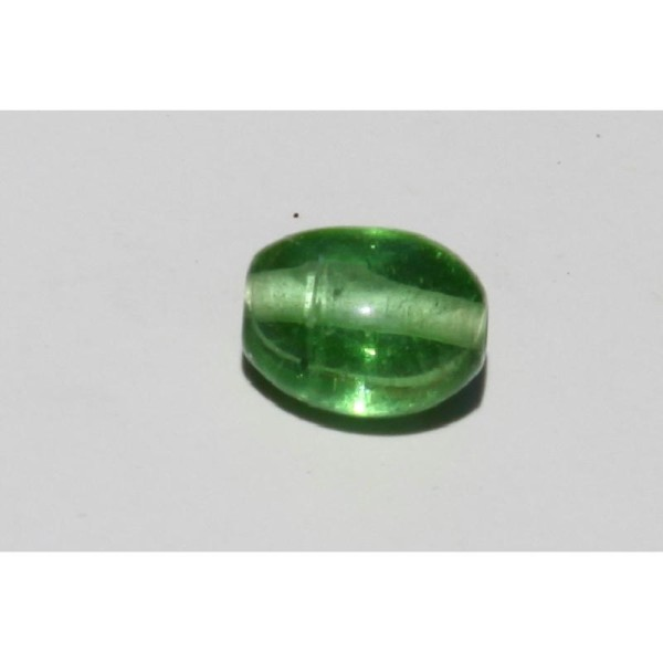 Perle en verre ovale verte de 20 mm - Photo n°2