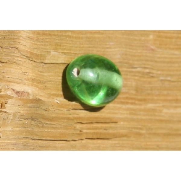 Perle en verre ovale verte de 20 mm - Photo n°3