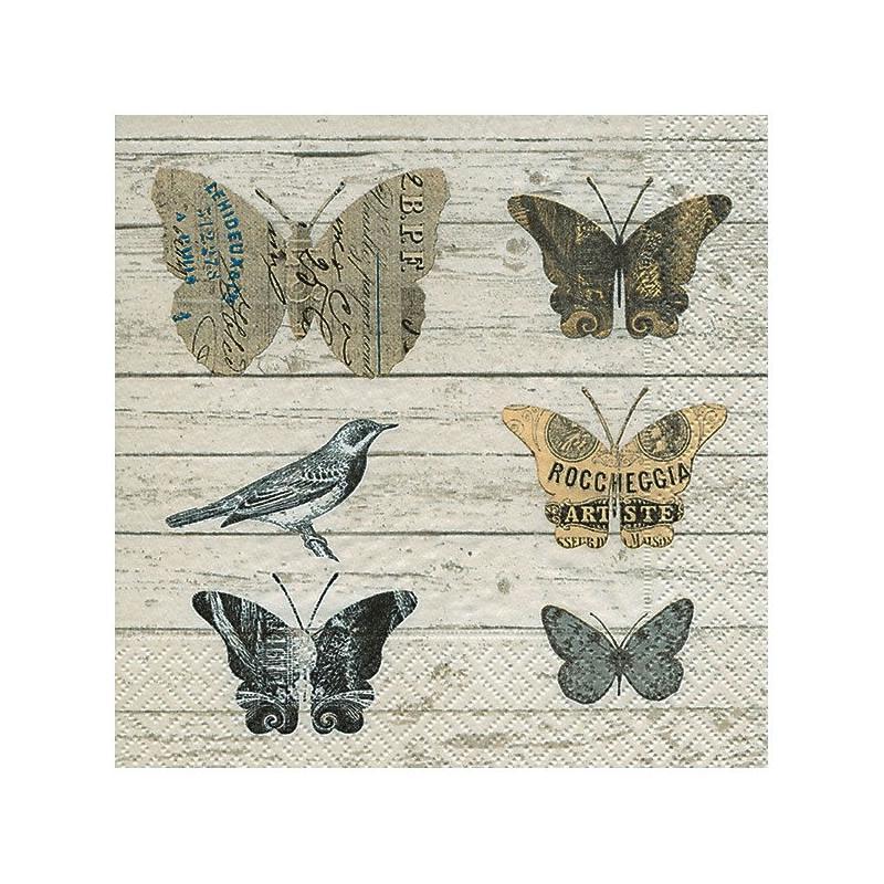4 serviettes en papier d coupage collage 33 cm bois papillon oiseau d 106 serviette en papier. Black Bedroom Furniture Sets. Home Design Ideas