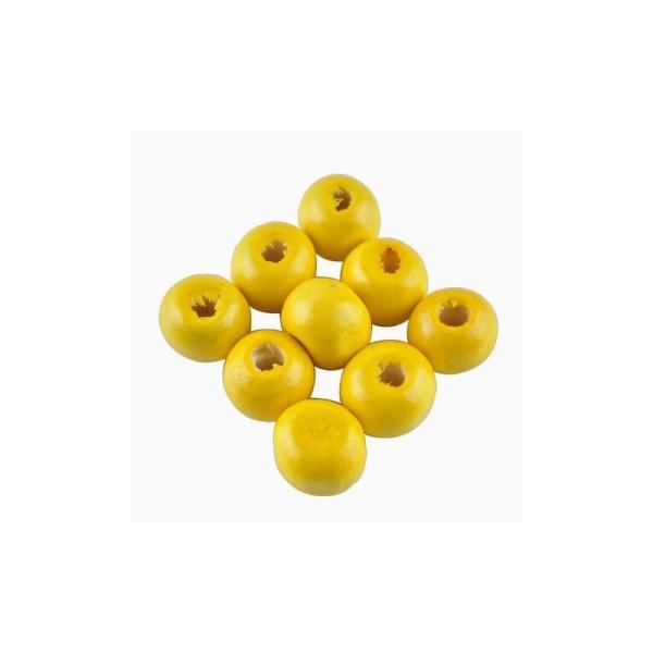 100 Perles ronde en bois jaune 8mm - Photo n°1