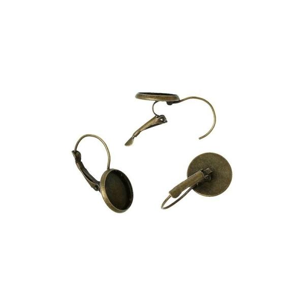 20 supports Boucles d/'oreille dormeuse bronze pour cabochon 12 mm