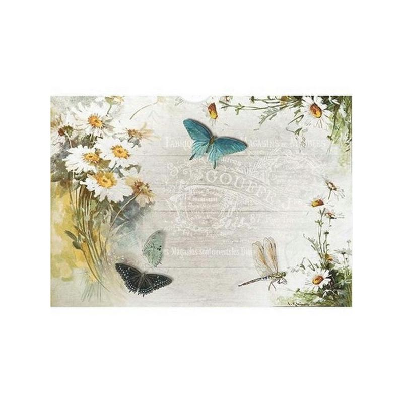 1 feuille de papier de riz 21 x 28 cm d coupage collage vintage fleur papillon 1183 papier de. Black Bedroom Furniture Sets. Home Design Ideas