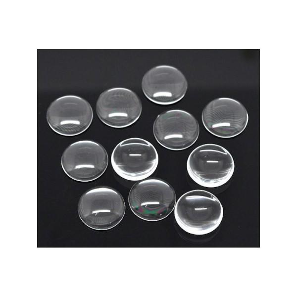 30 Cabochons dômes rond transparent 20 mm - Photo n°1