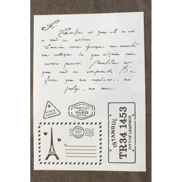 POCHOIR PLASTIQUE  Format A4 (21*29.7cm) motif vintage : correspondance de voyage - Photo n°1