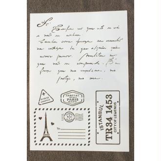 POCHOIR PLASTIQUE  Format A4 (21*29.7cm) motif vintage : correspondance de voyage