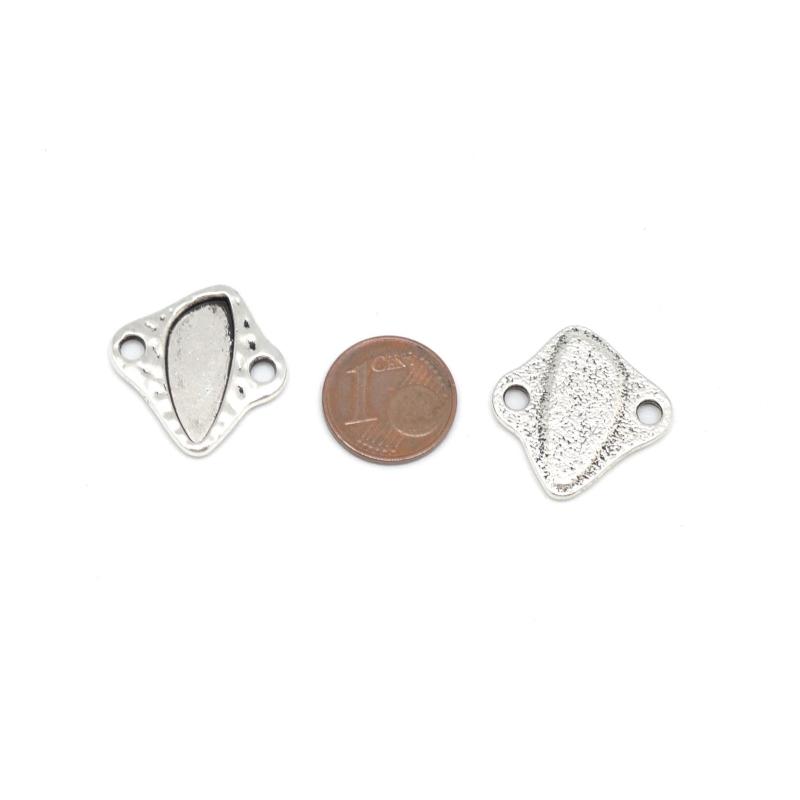 4 perles connecteur en m tal argent martel support pour. Black Bedroom Furniture Sets. Home Design Ideas