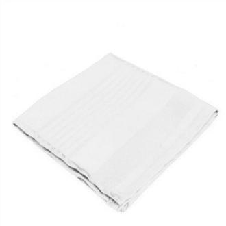 6 Serviettes de table polyester rayée ton sur ton blanche