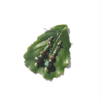 Boucles Oreilles Turquoise Africaine 5 CM de hauteur