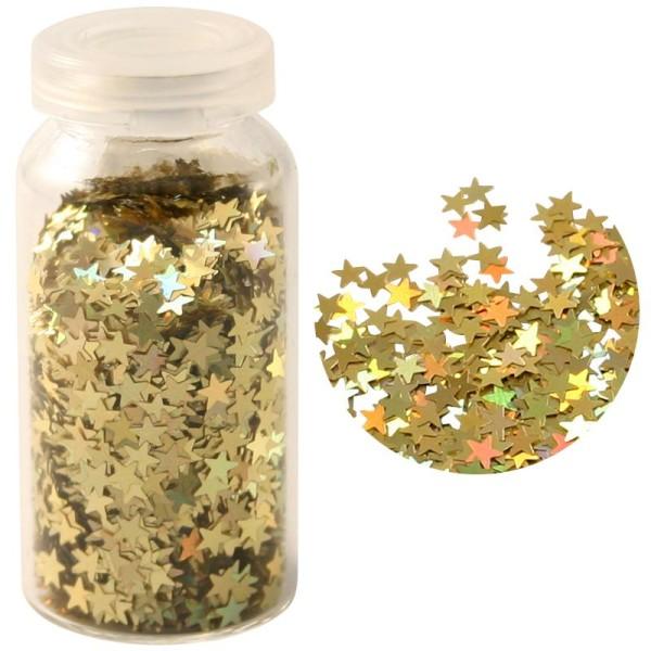 Paillettes mini étoiles aluminium doré Hologramme 3 gr - Photo n°1
