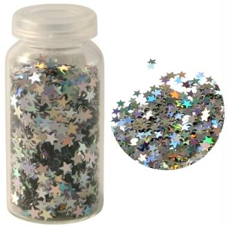 Paillettes mini étoiles aluminium argent Hologramme 3 gr