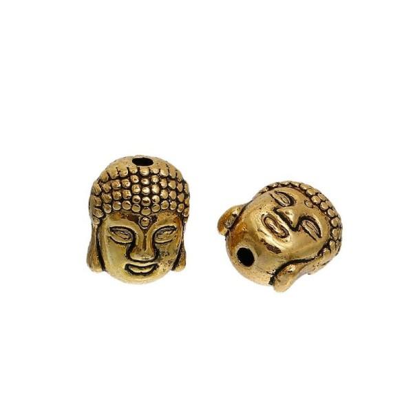 20 Perles en métal or Vieilli Bouddha Gravé - Photo n°1