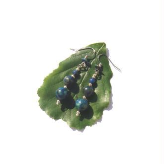 Boucles Oreilles Azurite Malachite réhaussée 5,3 CM de hauteur