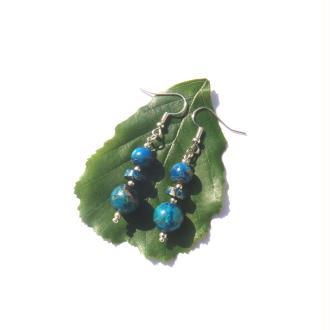 Boucles Oreilles Jaspe Sédiment teinté bleu 5,5 CM de hauteur
