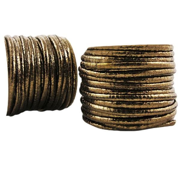 0,92 m 3ft 1yrd Bronze Métallique en PU Souple Plat Cordon en Cuir Bracelet Collier de Prise d'Artis - Photo n°1